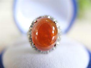 แหวนเงินหยกสีส้ม