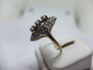 แหวนเพชรเกสรทรงมาร์คีโบราณ-3