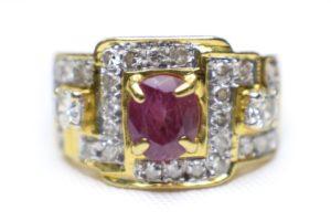 แหวนทองทับทิมสยามเพชรเกสร