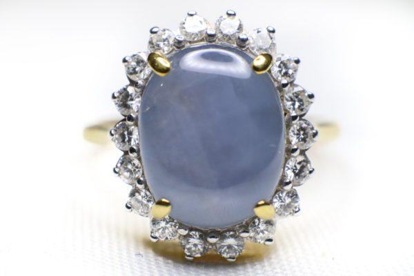แหวนพลอยนิหร่าสีฟ้าอมเทา